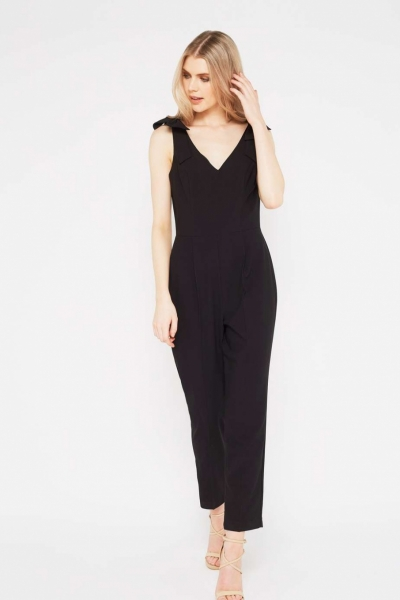 Miss Selfridge Black Strappy Bow Jumpsuit