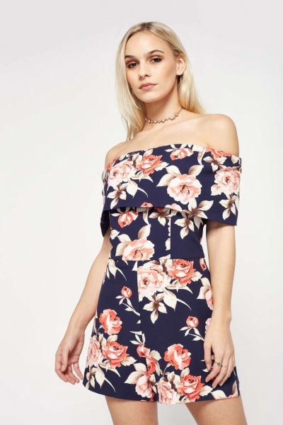 Miss Selfridge PETITE Navy Floral Print Playsuit