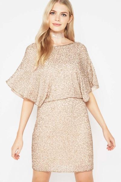 Miss Selfridge PREMIUM Gold Angel Sleeve Dress