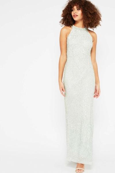 Miss Selfridge PREMIUM Mint Linear Bead Maxi Dress