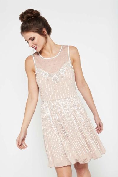 Miss Selfridge PREMIUM Rose Flippy Embellished Dress