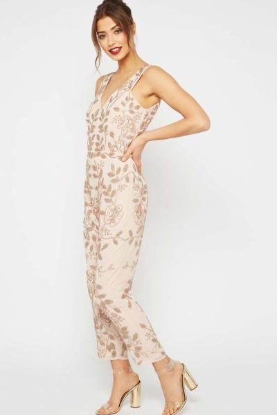Miss Selfridge PREMIUM Rose Gold Embellished Jumpsuit
