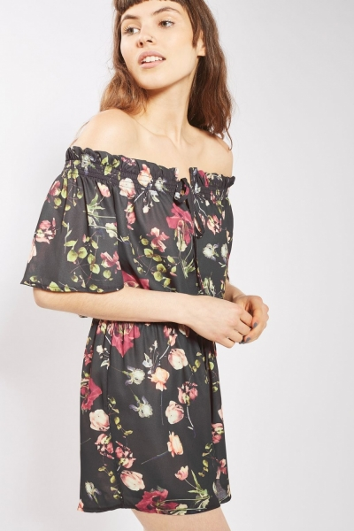 Off Shoulder Tie Front Playsuit By Oh My Love