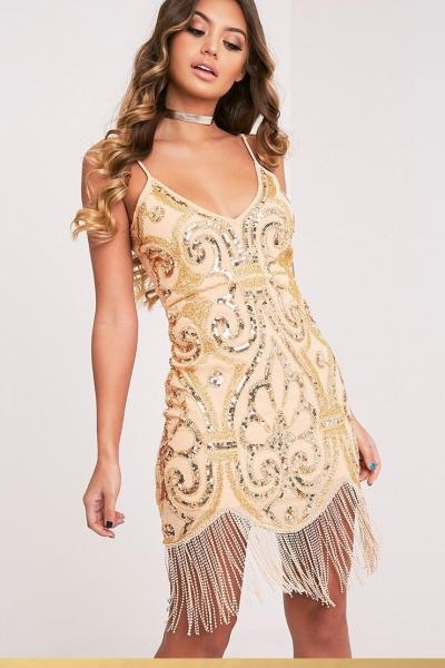 Pretty Little Thing ASHLEAH NUDE TASSEL BEADED BODYCON DRESS