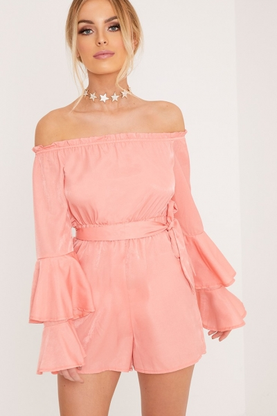 Pretty Little Thing JESS PINK BARDOT BELL SLEEVE BELTED PLAYSUIT