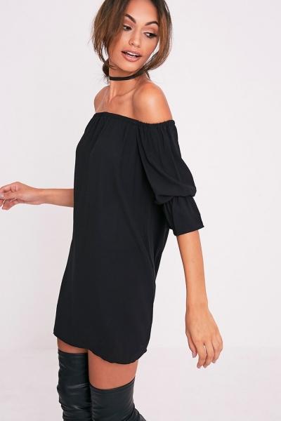 Pretty Little Thing KANDIE BLACK CURVED HEM BARDOT SWING DRESS