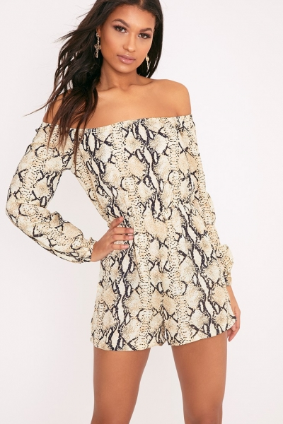 Pretty Little Thing KENNIE TAUPE SNAKE PRINT BARDOT PLAYSUIT