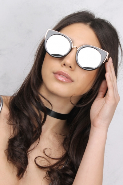 Rare Black And Gold Contrast Cat Eye Sunglasses