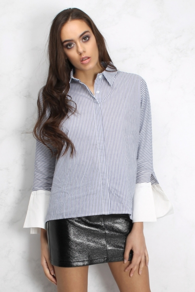 Rare Blue And White Contrast Collar Striped Shirt