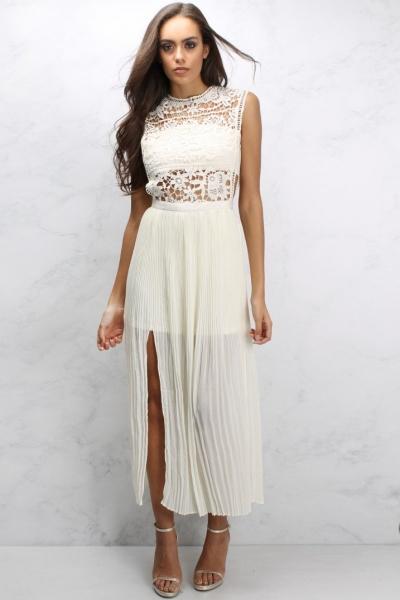 Rare Cream Crochet Pleat Maxi Dress