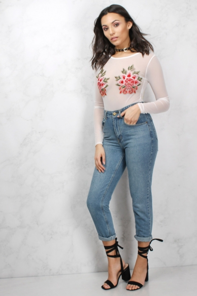 Rare Cream Floral Embroidered Long Sleeve Bodysuit