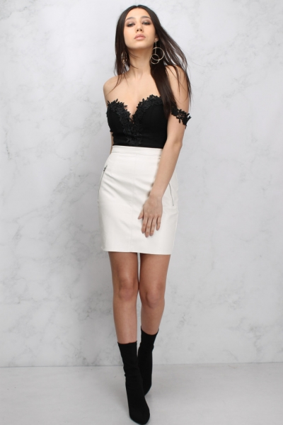 Rare Cream Zip Detail PU A Line Mini Skirt