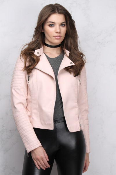 Rare Pink Textured PU Biker Jacket