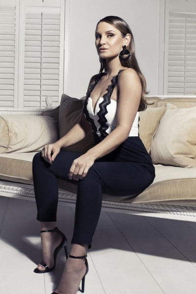 Rare Sam Faiers Wears Black And White Contrast Zig Zag Trim Jumpsuit