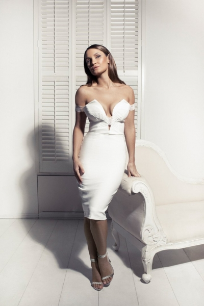 Rare Sam Faiers Wears White Bardot Cross Strap Midi Dress