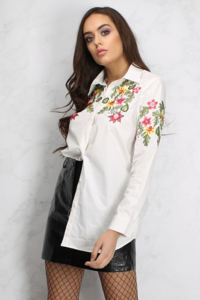 Rare White Embroidered Long Sleeve Shirt