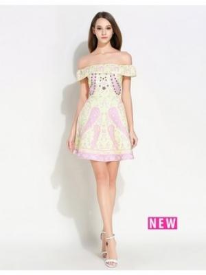 COMINO COUTURE Bardot Pink Print Dress