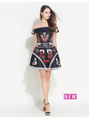 COMINO COUTURE Black Bardot Dress With Embellishment