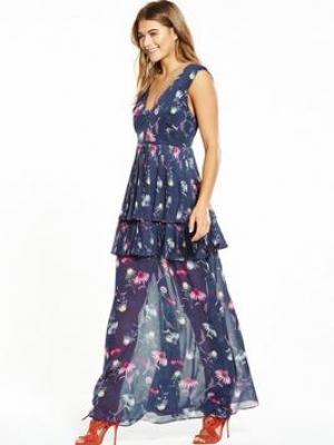 Lost Ink Print Floral Pleat Maxi Dress