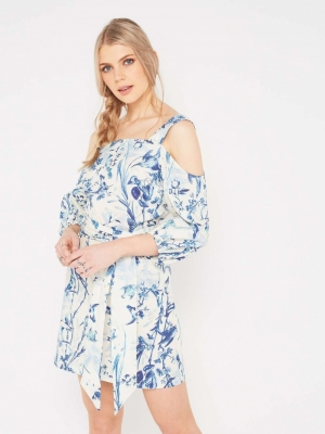 Miss Selfridge Blue Floral Cold Shoulder Dress