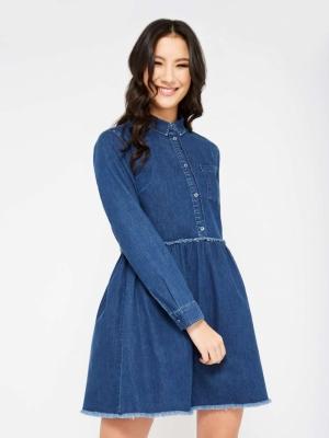Miss Selfridge Blue Gathered Waist Shirt Dress