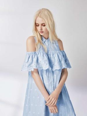 Miss Selfridge Embroidered Cold Shoulder Shirt Dress
