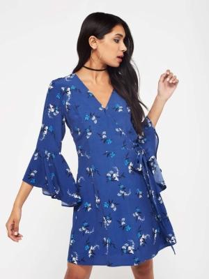 Miss Selfridge Floral Flute Sleeve Dress