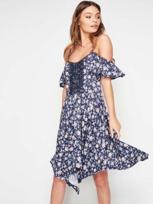 Miss Selfridge Floral Hanky Hem Cold Shoulder Dress