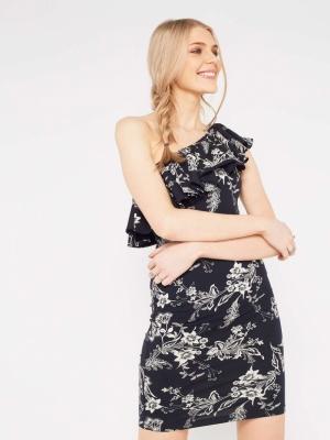 Miss Selfridge One Shoulder Printed Frill Dress