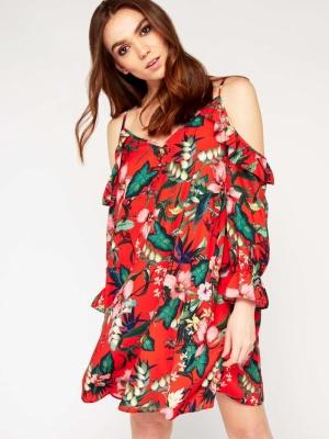 Miss Selfridge PREMIUM Floral Print Cold Shoulder Dress