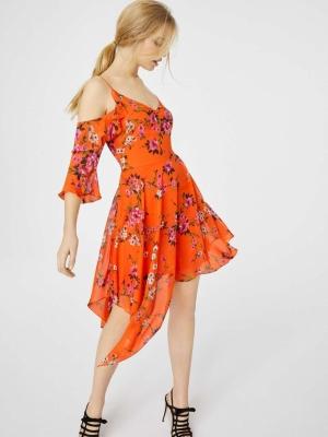 Miss Selfridge Red Floral Hanky Hem Dress