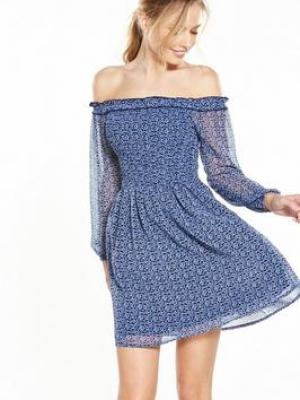 Miss Selfridge Sheared Bardot Dress Blue