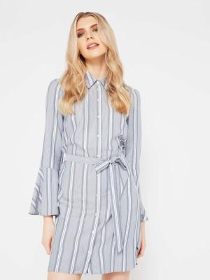Miss Selfridge Stripe Flute Sleeve Dress