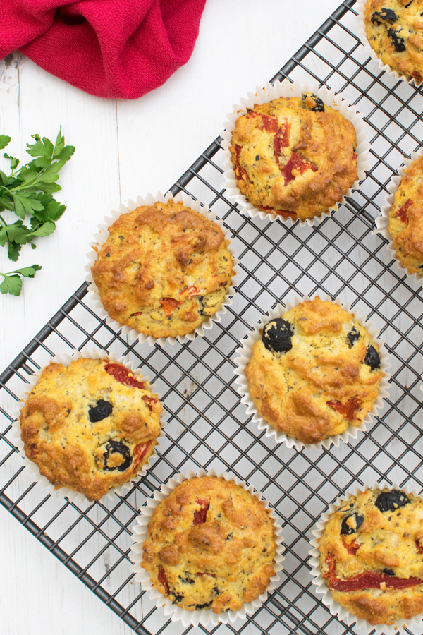 Olive Red Pepper Polenta Muffins By The Flexitarian