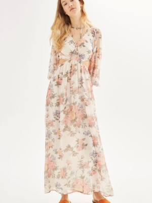 Topshop Crinkle Floral Maxi Dress