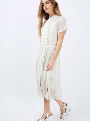 Topshop Embellished Shirt Dress