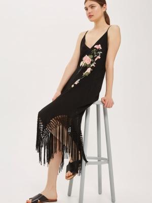 Topshop Embroidered Fringe Slip Dress