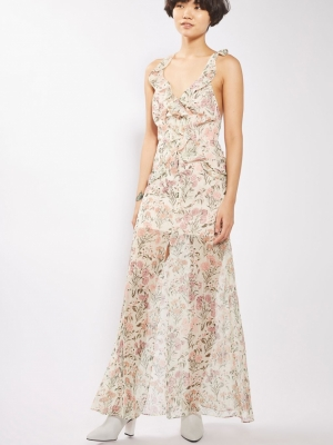 Topshop Floral Ruffle Maxi Dress