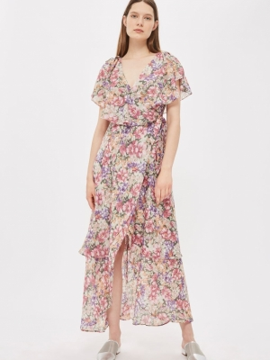 Topshop Garden Floral Wrap Maxi Dress