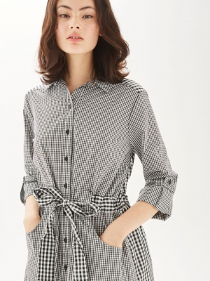 Topshop Gingham Mix Match Shirt Dress