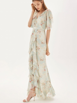 Topshop Muted Floral Print Maxi Dress