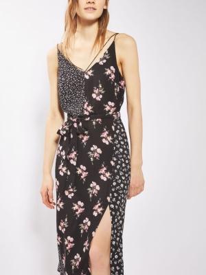 Topshop Patchwork Belted Slip Dress