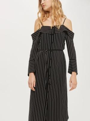 Topshop Pinstripe Midi Shirt Dress