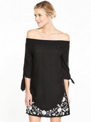 V By Very Bardot Floral Embroidered Dress