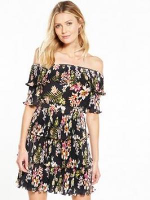 V By Very Bardot Pleated Ruffle Dress