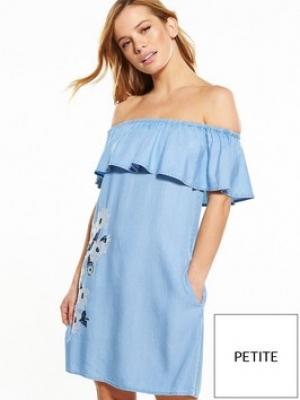 V By Very Petite Embroidered Bardot Dress