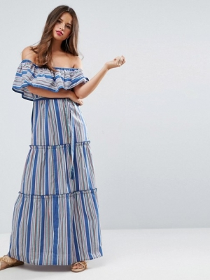 ASOS Off Shoulder Maxi Dress In Bright Stripe