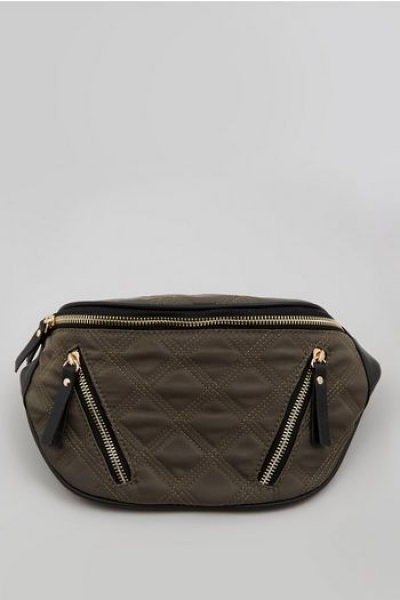 New Look Khaki Quilted Bumba