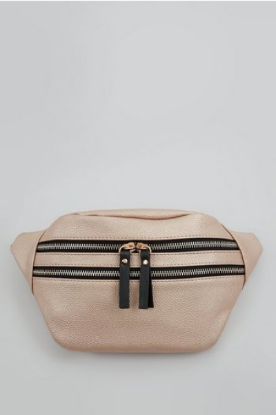 New Look Rose Gold Double Zip Bumba