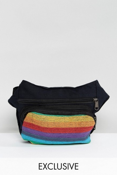 Reclaimed Vintage Inspired Bum Bag With Rainbow Stripes